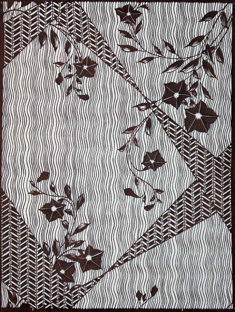 Large antique japanese kimono fabric print design hand cut for Patterned material for sale