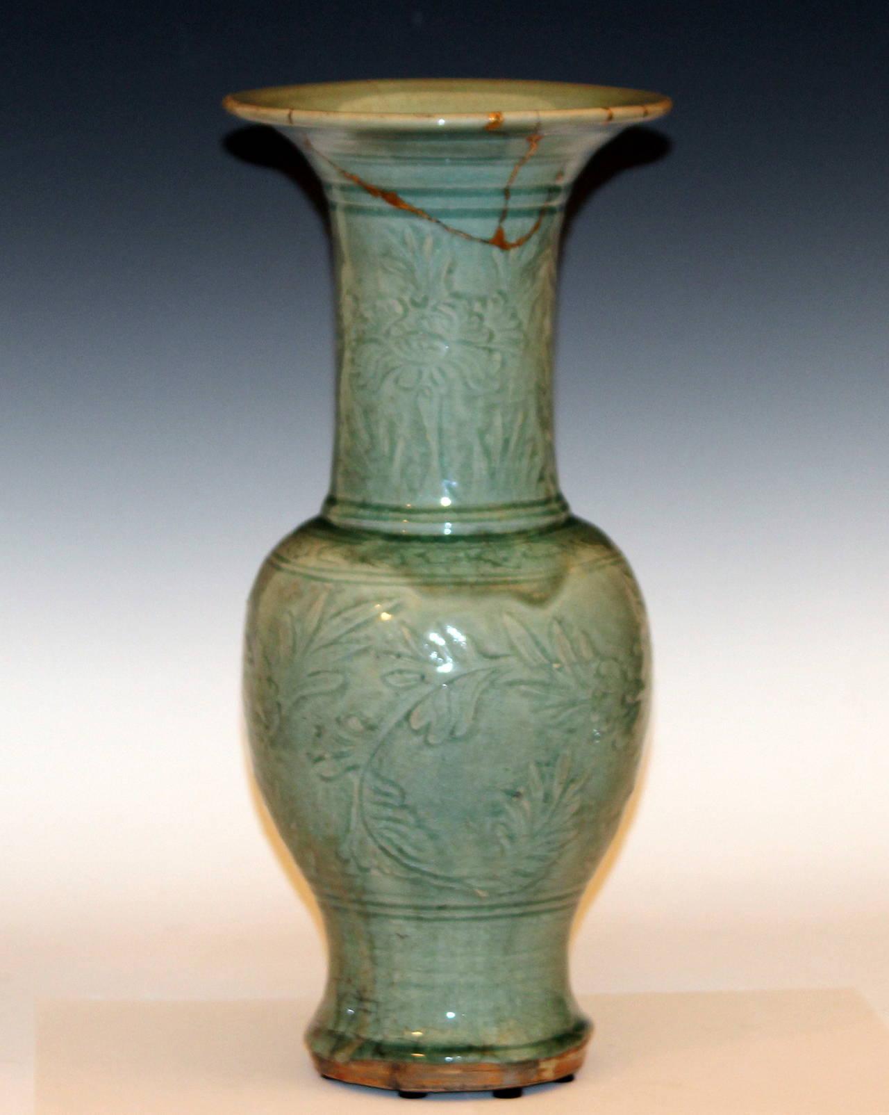 Antique Ming Chinese Carved Celadon Porcelain Yen Yen Vase