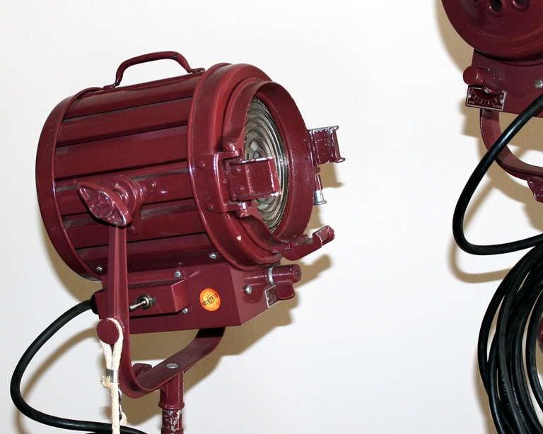 Pair Vintage Industrial Stage Studio Spot Flood Lights Lamps Mole Richardson 407 3