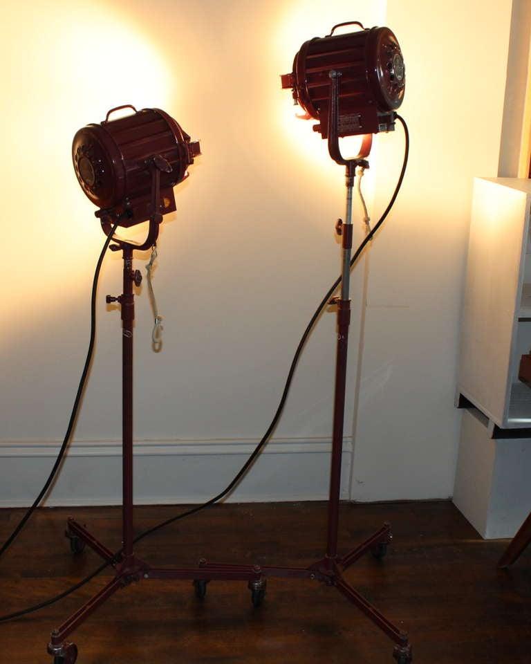 Pair Vintage Industrial Stage Studio Spot Flood Lights Lamps Mole Richardson 407 8