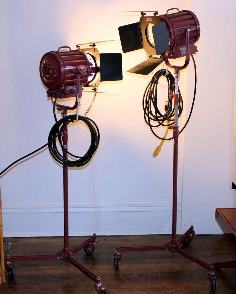 Pair Vintage Industrial Stage Studio Spot Flood Lights Lamps Mole Richardson 407 10