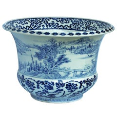 Antique Fukagawa Blue and White Jardiniere