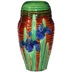 Awaji Pottery Art Nouveau Carved Iris Vase
