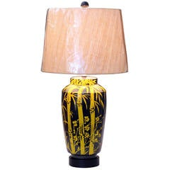 1960s Bagni for Raymor Wax Resist Bamboo Design Italian Pottery Lamp