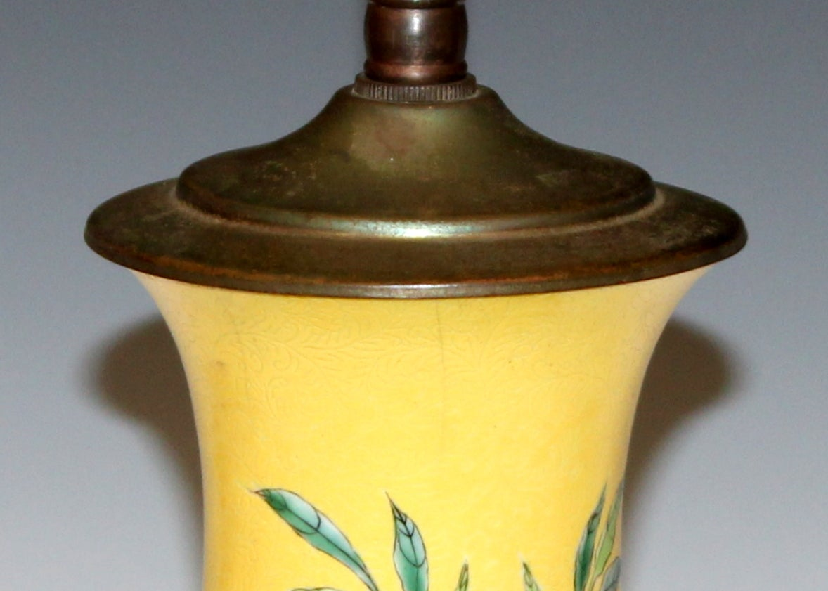 Antique Chinese Porcelain Incised Yellow Ground Peach Vase