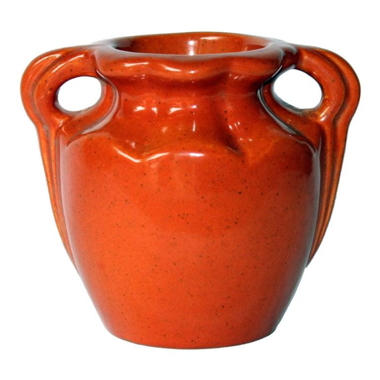 Vintage Camark Vase In Chrome Orange Glaze At 1stdibs