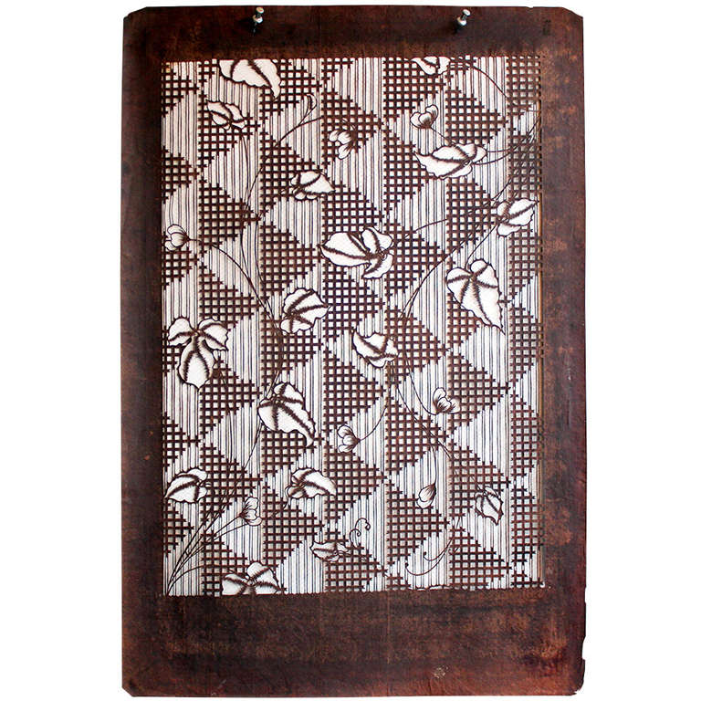 5161318be Antique Japanese Kimono Katagami Fabric Stencil For Sale at 1stdibs
