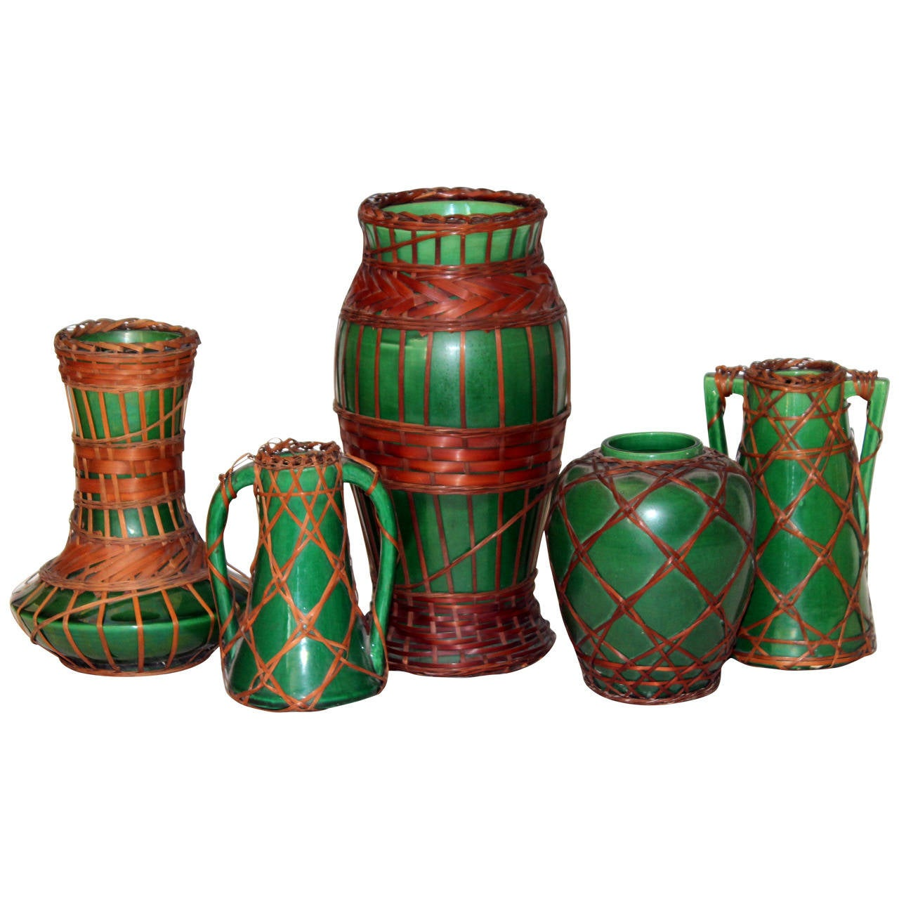 Green arts and crafts awaji pottery vases with bamboo for Arts and crafts pottery