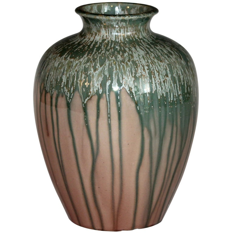 Awaji Pottery Vase In Crystalline Drip Glaze At 1stdibs