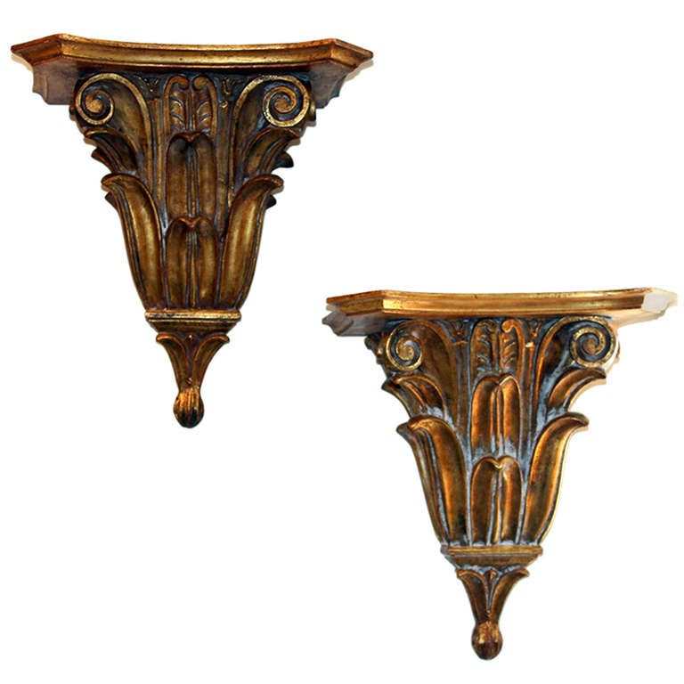 Pair Carved Wood Gilt Italian Bracket Shelves At 1stdibs