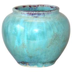 Antique or Vintage Japanese Flambe Crystalline Glaze Art Pottery Studio Vase
