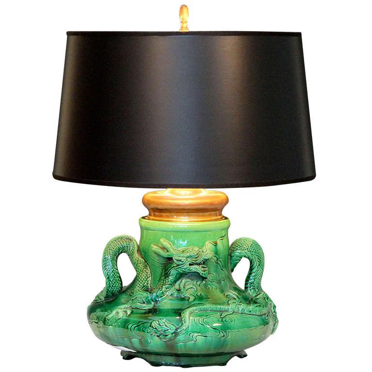 Awaji Pottery Dragon Lamp at 1stdibs