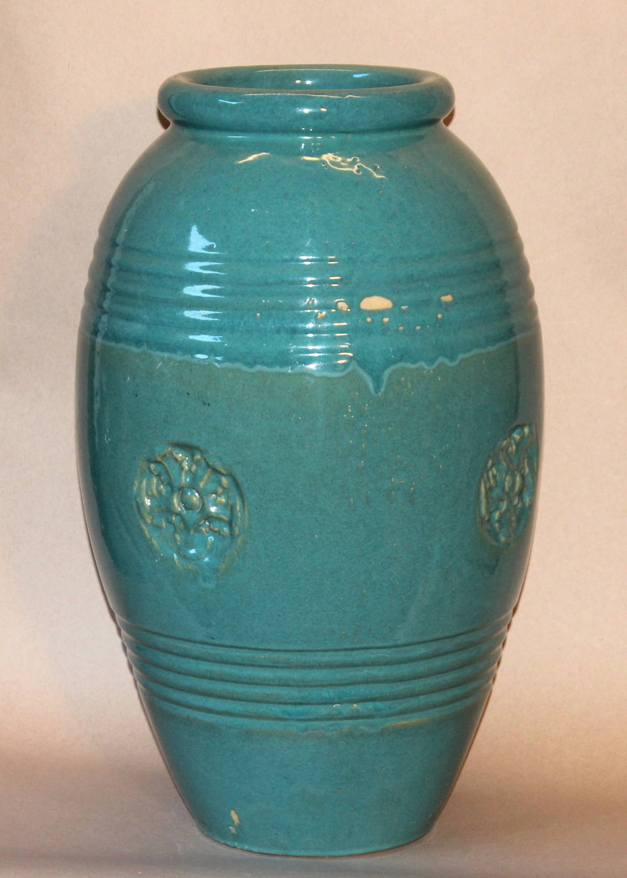 Bon American Large Vintage Bauer California Pottery Garden Urn Oil Jar Vase For  Sale