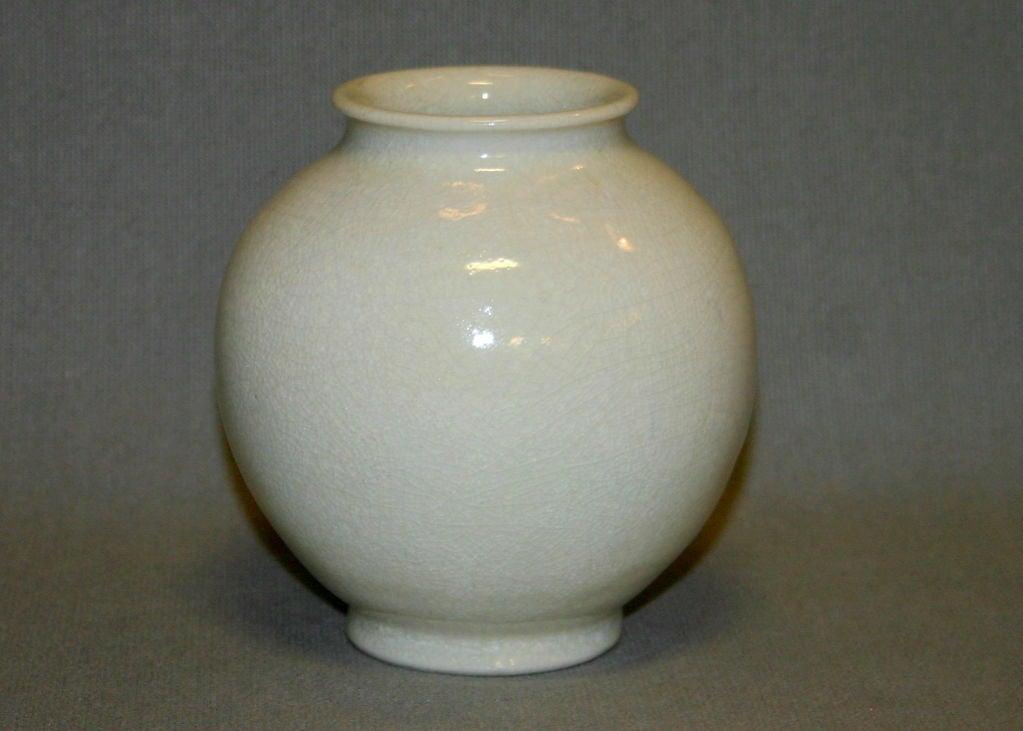Leon Volkmar Durant Kilns Art Pottery White Chinese Crackle Vase 2