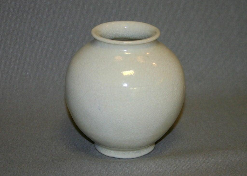 Leon Volkmar Durant Kilns Art Pottery White Chinese Crackle Vase 3