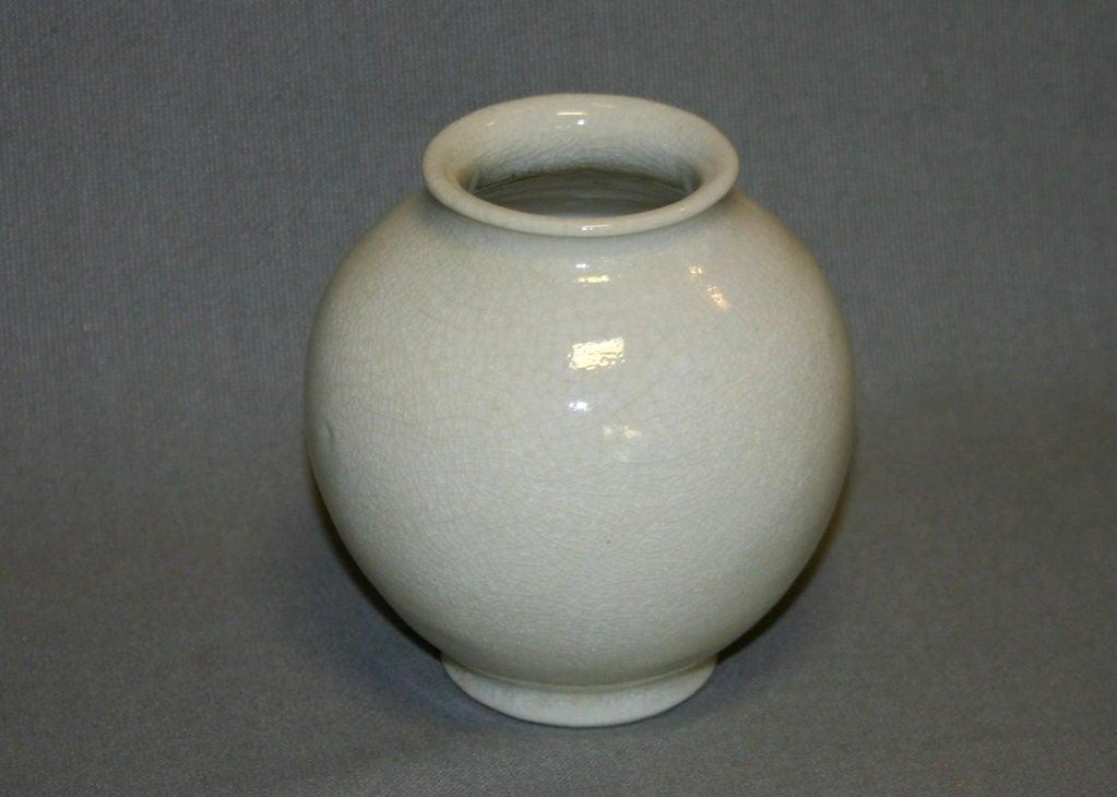 Leon Volkmar Durant Kilns Art Pottery White Chinese Crackle Vase 4