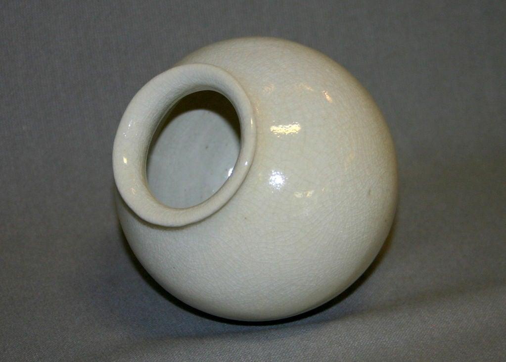 Leon Volkmar Durant Kilns Art Pottery White Chinese Crackle Vase 5