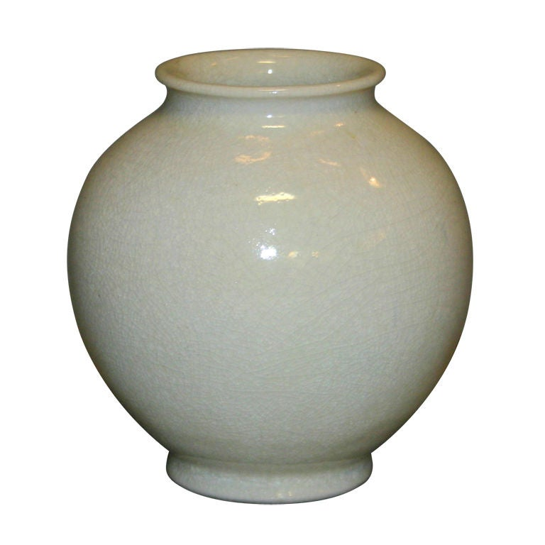 Leon Volkmar Durant Kilns Art Pottery White Chinese Crackle Vase