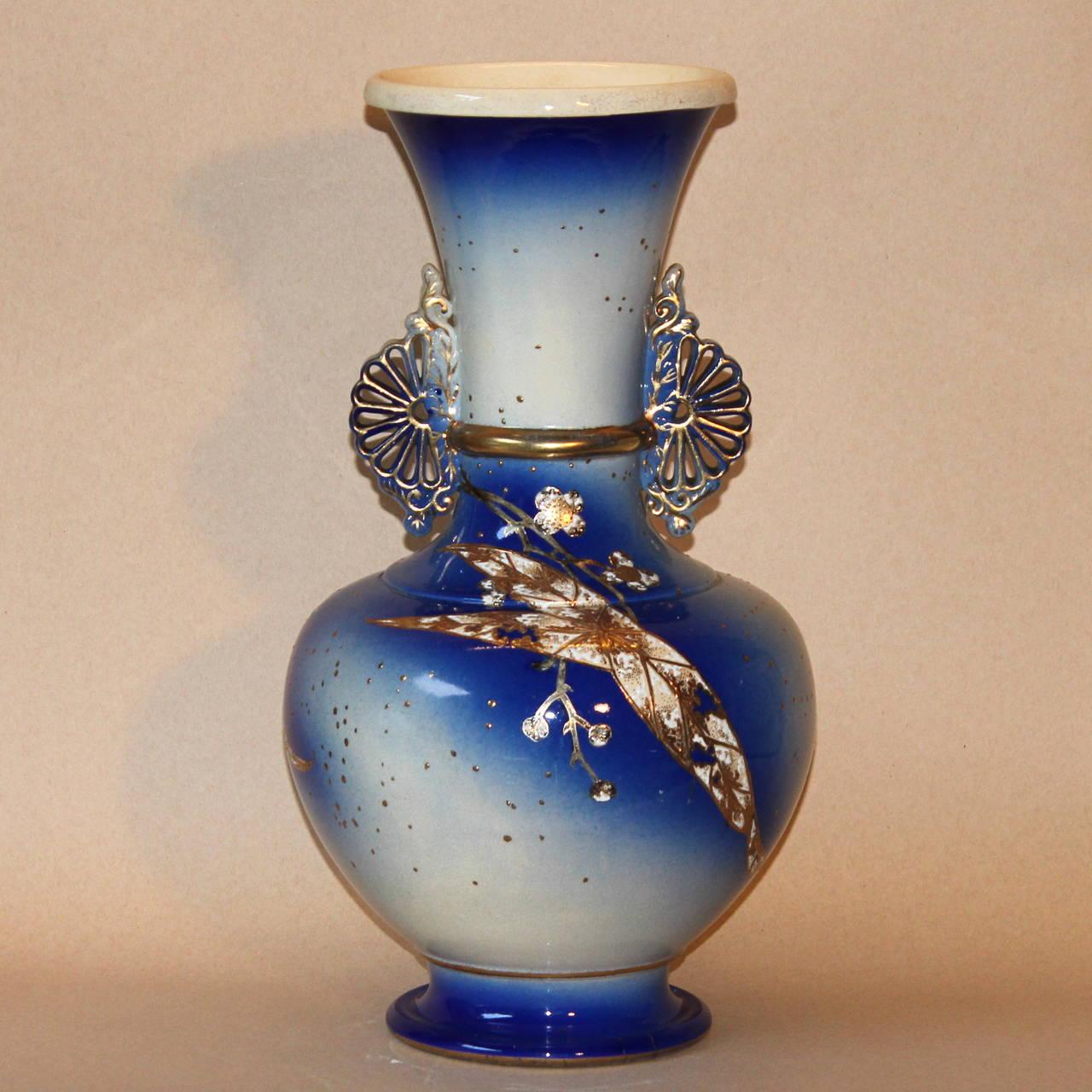 Antique japanese kinkozan satsuma studio art deco pottery vase at large satsuma vase decorated with lily leaves in extraordinary detail with bright blue glaze beautiful reviewsmspy