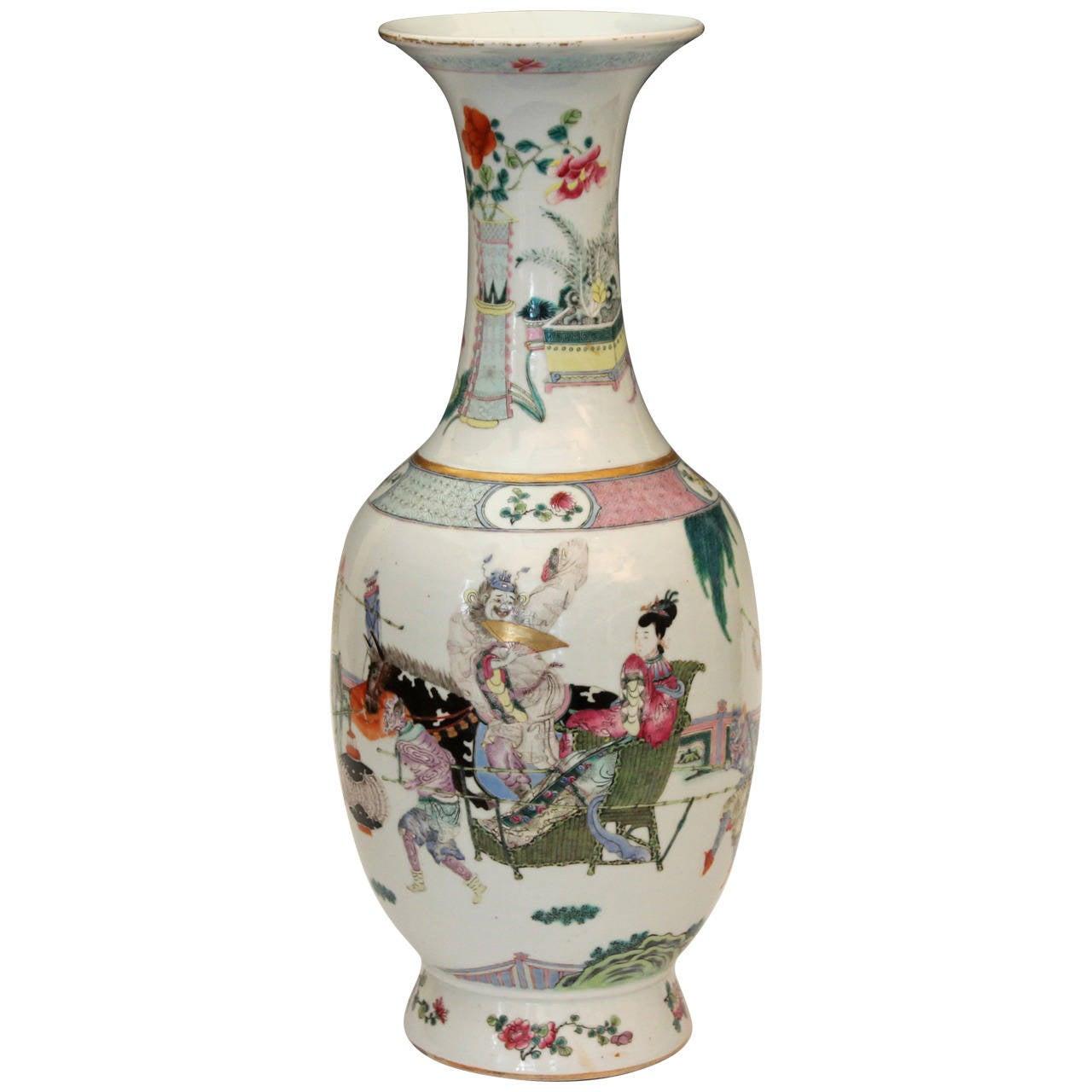 Antique qianlong mark chinese porcelain famille rose vase figures antique qianlong mark chinese porcelain famille rose vase figures gods demons for sale reviewsmspy