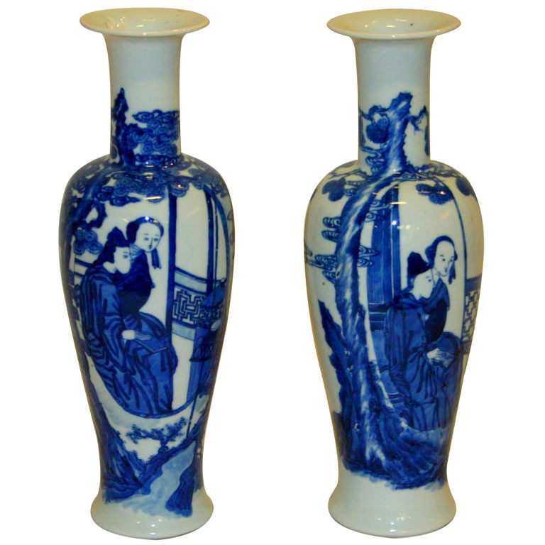 pair antique chinese porcelain blue and white vases at 1stdi