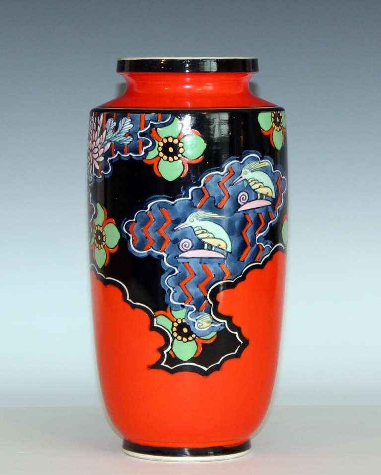 vintage kinkozan japanese art deco vase at 1stdibs. Black Bedroom Furniture Sets. Home Design Ideas
