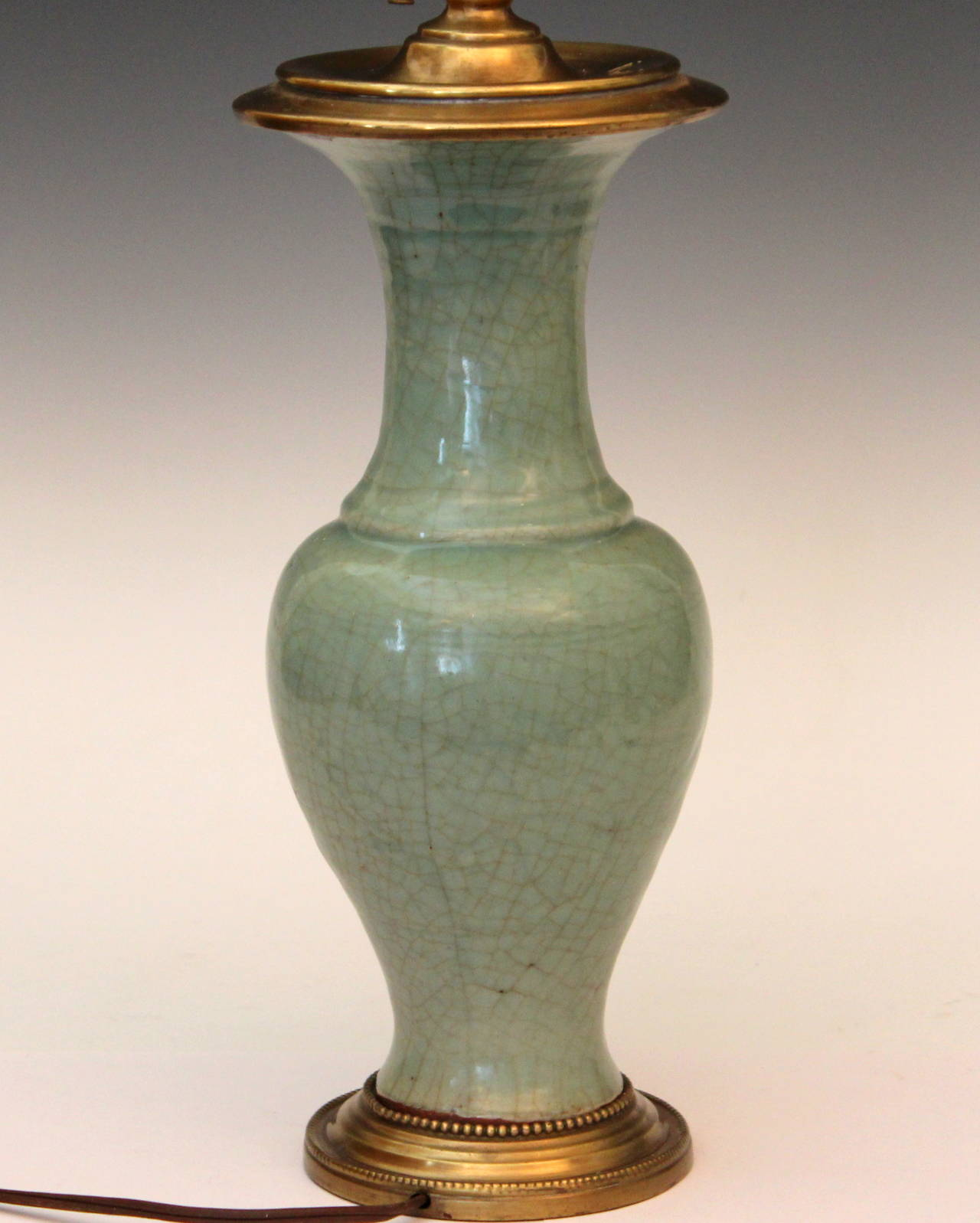 Antique Chinese Porcelain Celadon Crackle Glaze Vase Lamp
