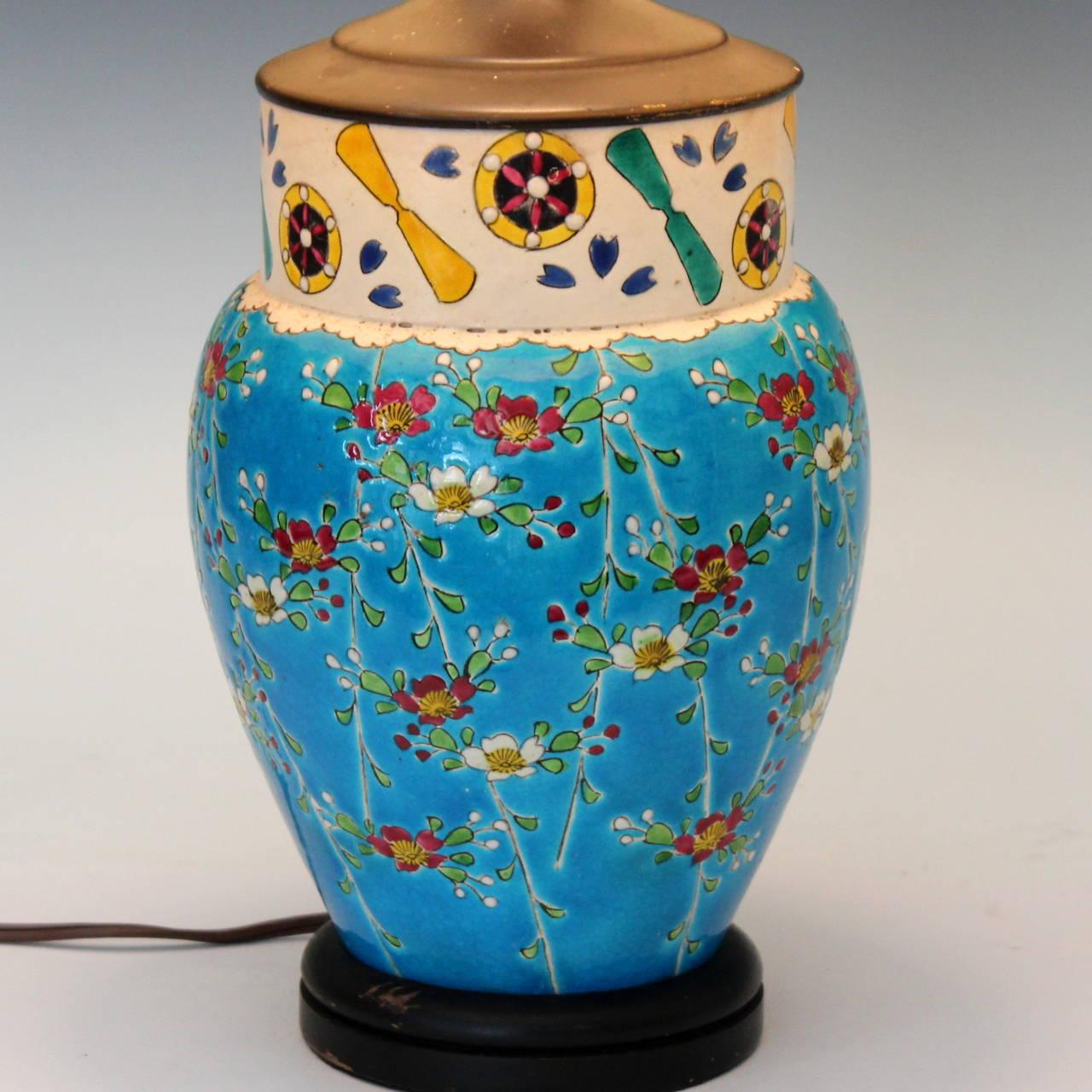Antique Japanese Enameled Pottery Turquoise Buddhist Lamp At 1stdibs