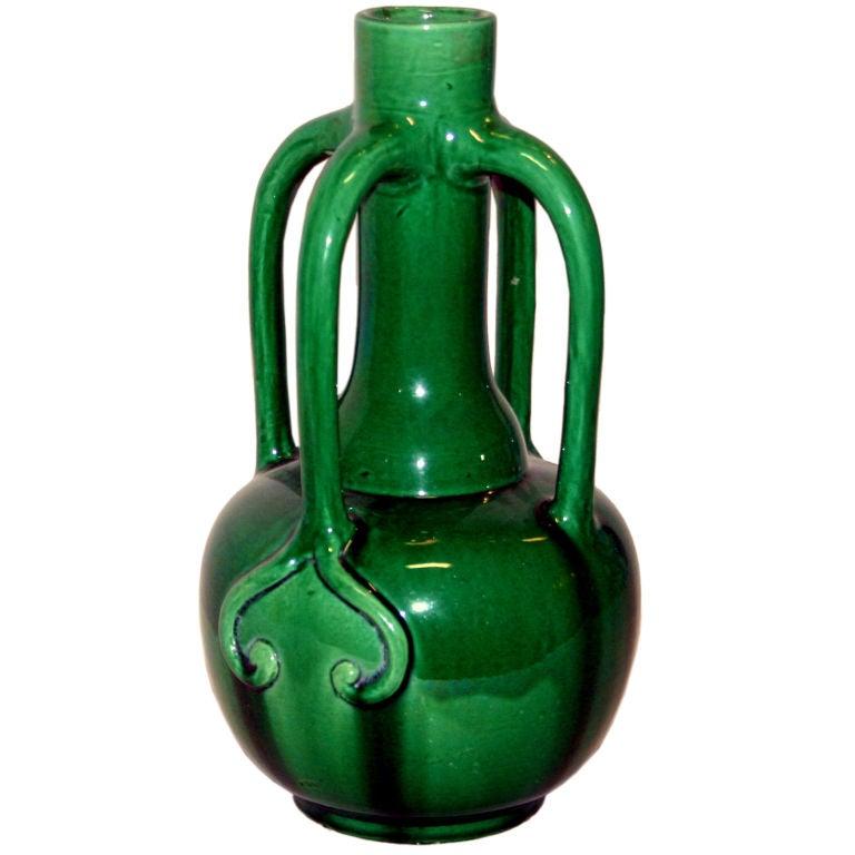 Awaji Pottery Art Nouveau 4 handle Vase