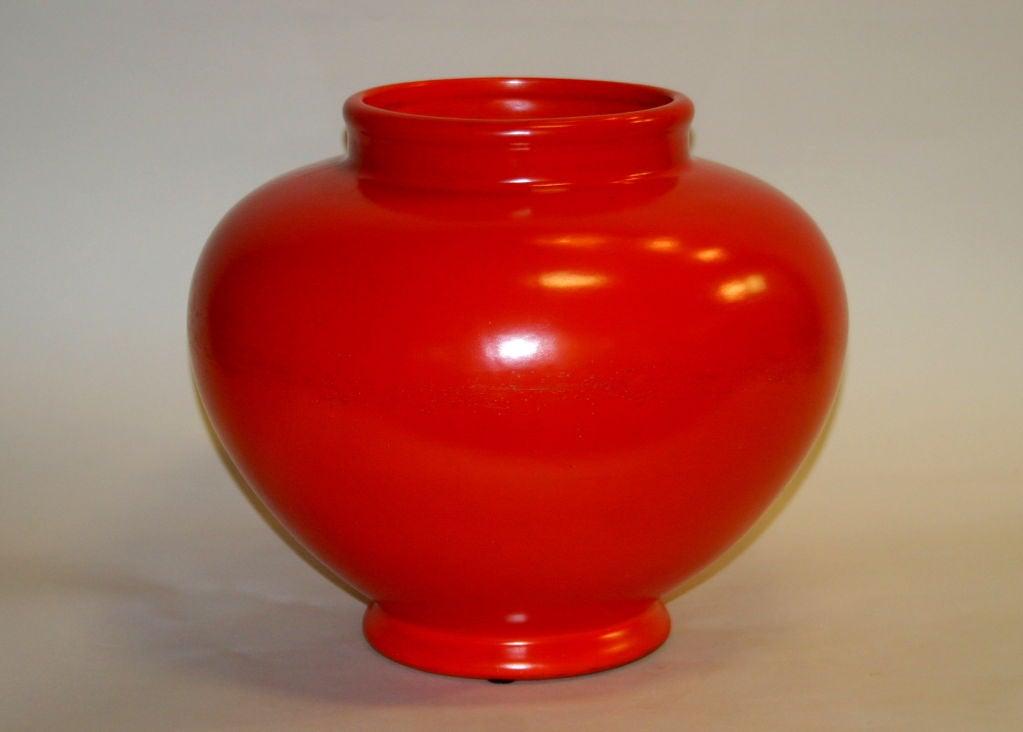 Large Atomic Red Weller Art Pottery Vase 2