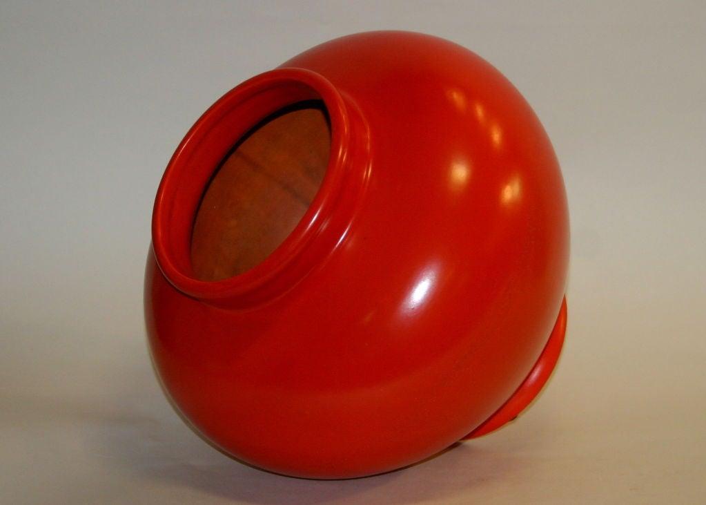 Large Atomic Red Weller Art Pottery Vase 3