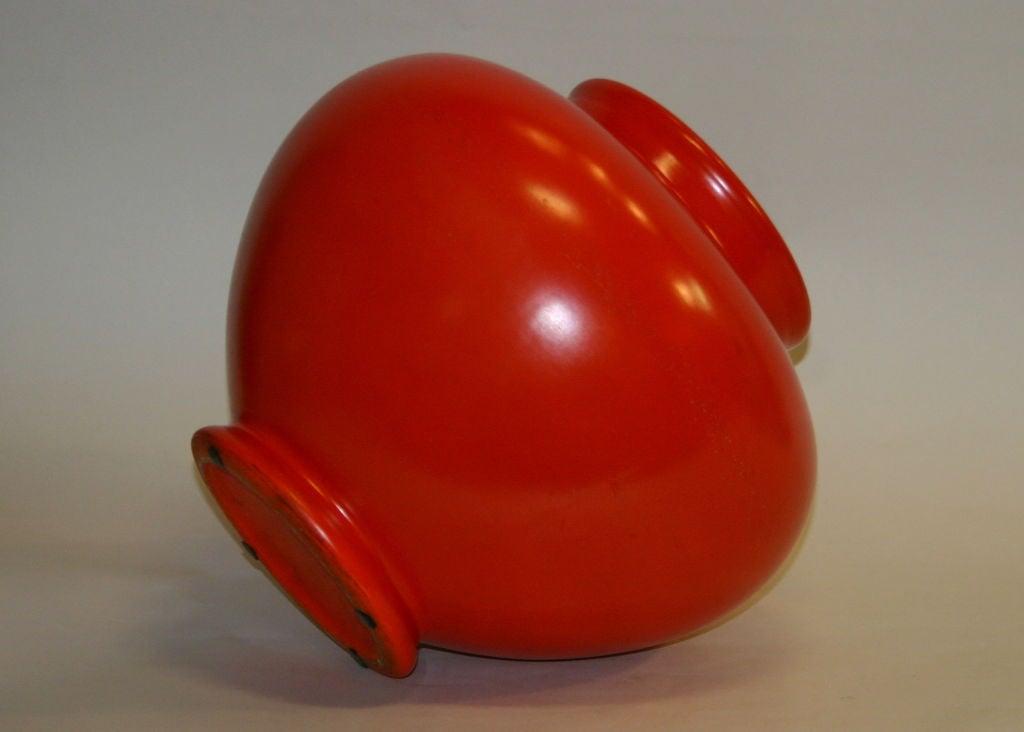 Large Atomic Red Weller Art Pottery Vase 4
