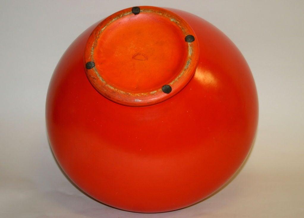 Large Atomic Red Weller Art Pottery Vase 5