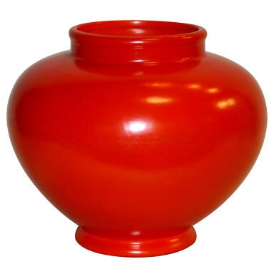 Large Atomic Red Weller Art Pottery Vase