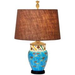 Antique Japanese Enameled Pottery Turquoise Buddhist Lamp