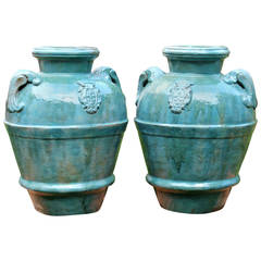 Huge Pair of Antique Galloway Terracotta Pottery Garden Urns Porch Vases