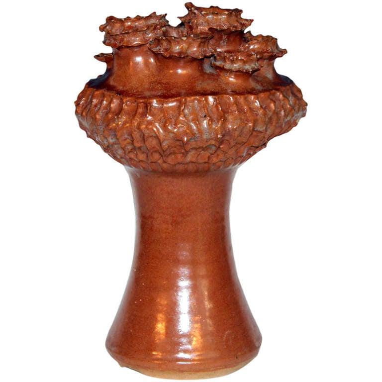 Large Studio Art Pottery Meteoric Atomic Age Vase