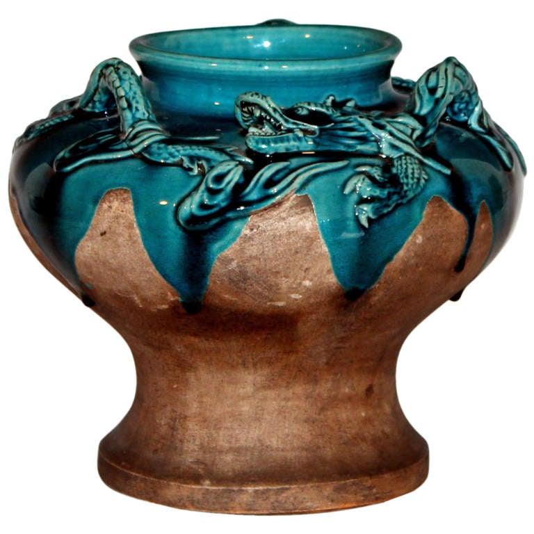 Awaji Pottery Dragon Vase At 1stdibs