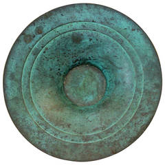 Vintage Japanese Art Deco Green Patinated Bronze Bowl Centerpiece