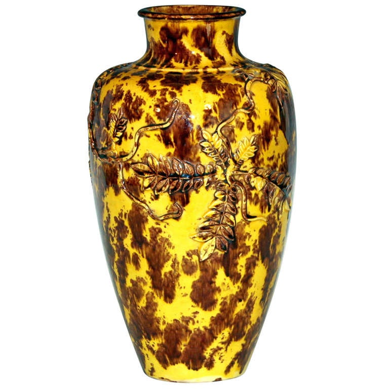 Antique Kyoto Pottery Vase With Wisteria And Birds At 1stdibs