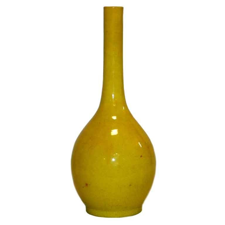 Kyoto Pottery Long Neck Vase In Yellow At 1stdibs