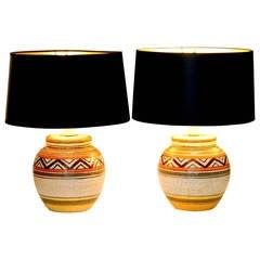 Pair of Vintage Bitossi Italian Art Pottery Navajo Tribal Lamps