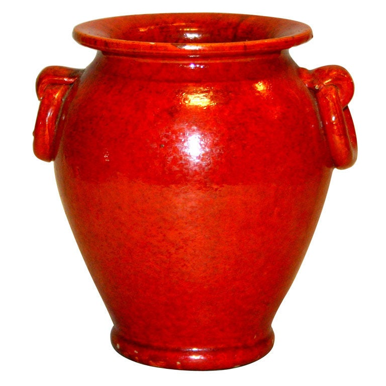 Vintage Chrome Red North Carolina Art Pottery Vase At 1stdibs