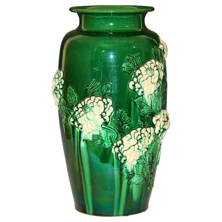 Large Awaji Vase With Applied Chrysanthemums At 1stdibs
