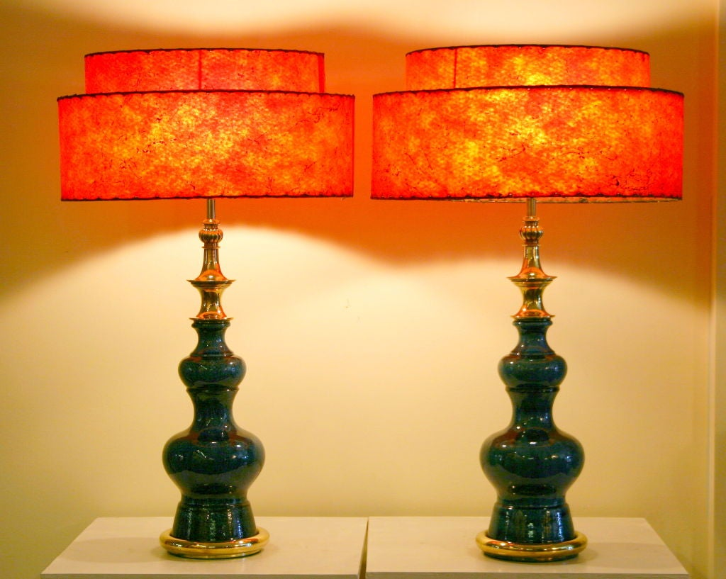 American Pair of Vintage Stiffel Pottery Lamps For Sale