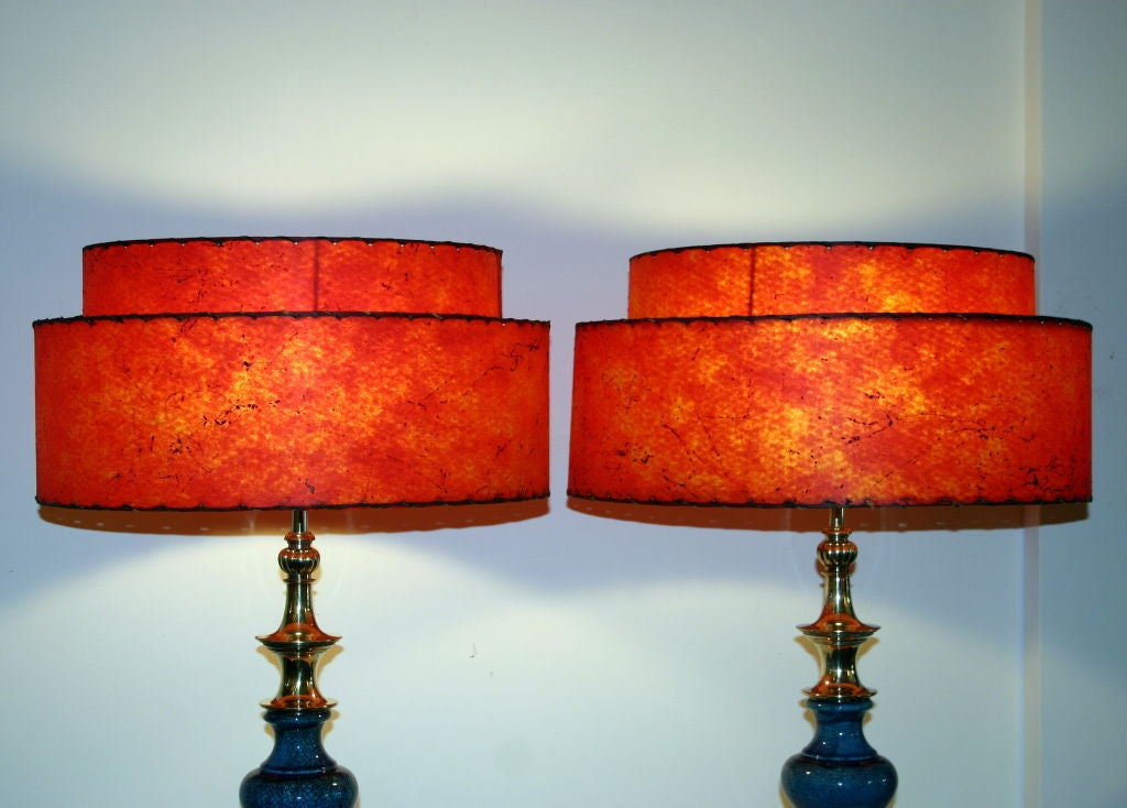 Pair of Vintage Stiffel Pottery Lamps In Excellent Condition For Sale In Wilton, CT