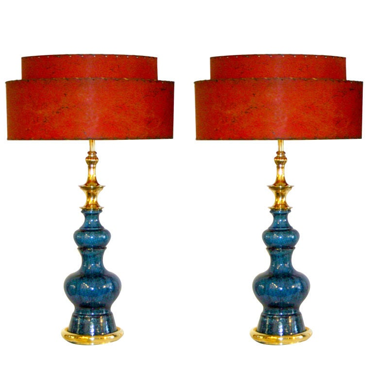 Pair of Vintage Stiffel Pottery Lamps For Sale