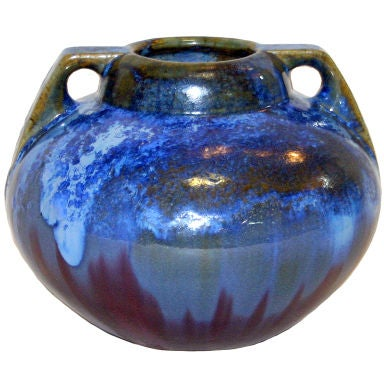 Fulper Vase with Blue Crystalline Glaze