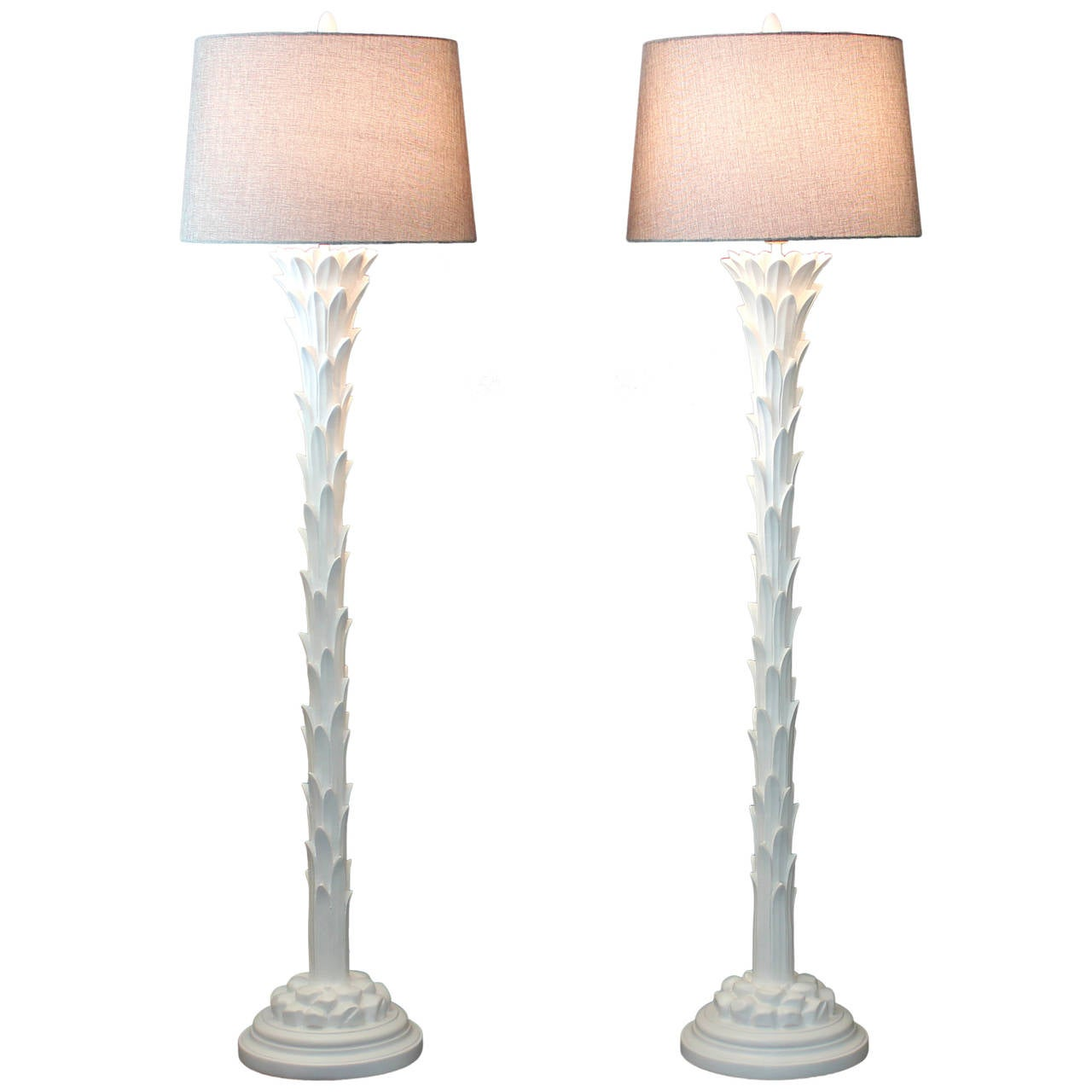 Pair of chapman serge roche art deco style palm tree floor for Art deco palm tree floor lamp