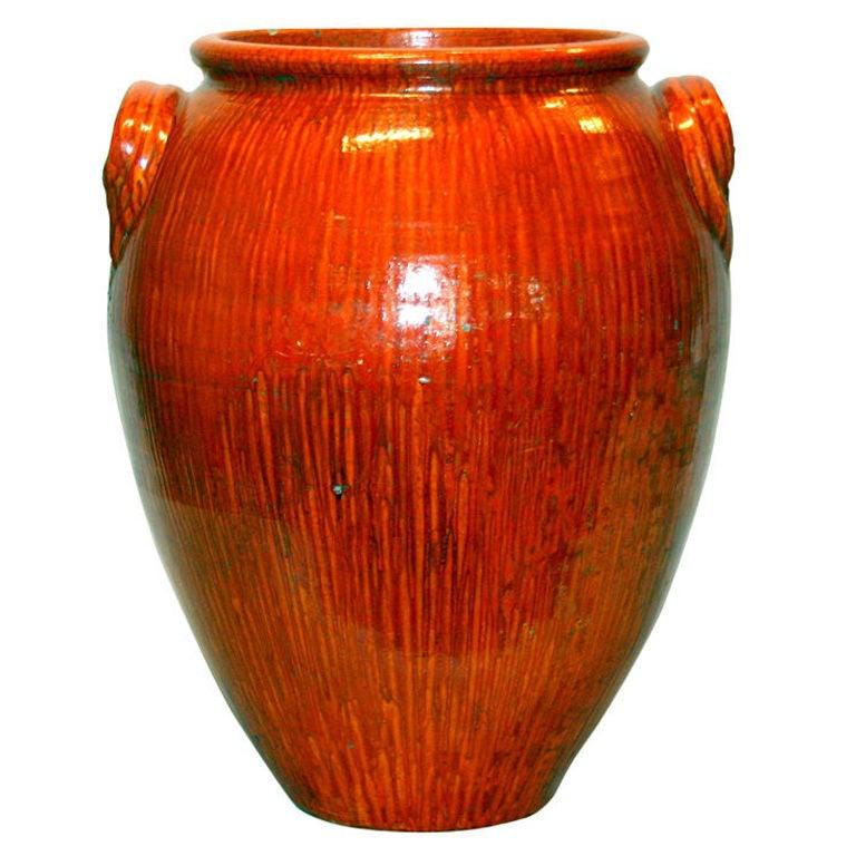 Large Chrome Red North Carolina Vase At 1stdibs